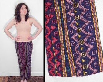 Rainbow GEOMETRIC Bellbottoms 1970s Wool Zig Zag Size XS Patridge Family Acid