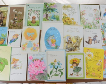 27 Piece Lot Vintage Kitsch Greeting Cards - Thinking of you, Get Well, Miss you