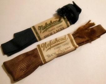 Vintage 1930s Shiny Nufashond Rayon Shoe Laces, 2 Pair, Shiney Shoes say Shine