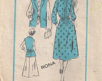 Dress And Vest Size 14 Vintage Mail Order Sewing Pattern Rhona Prominent Designer 804