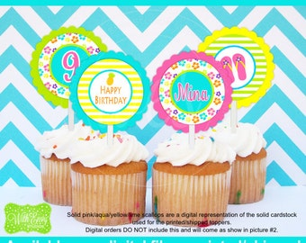 Luau Party Circles -Luau Cupcake Toppers - Tropical Luau Toppers - Hawaiian Cupcake Toppers - Digital and Printed Available