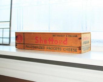 "Large Wood Cheese Box Shefford 5 Pound 14"" Vintage Kitchen Decor"