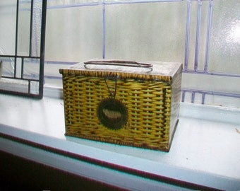 Vintage Tobacco Tin Patterson's Seal Cut Plug 1930s Lunch Pail Style