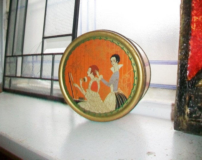 Vintage Art Deco Tin Three Flowers Dusting Powder Bathroom Decor Bedroom Decor