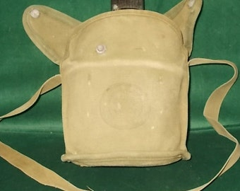 BSA Shoulder Canteen Boy Scouts Of America Canteen With Canvas Shoulder Strap Vintage Metal Canteen WWII Canteen