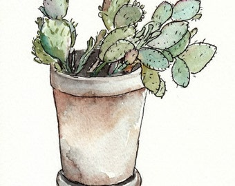 Watercolor Cactus in a Flower Pot, Original Painting, 5x7, green, sage, desert, western, succulent, plant, ink