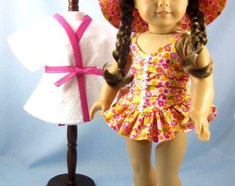Doll Clothes 18 Inch - Three Piece Swim Set - fits American Girl dolls - Pink Multi Floral Swim Set for dolls