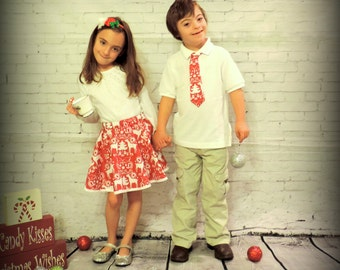 Girls holiday Christmas skirt reindeer print skirt red white holiday outfit holiday pictures outfit girls Christmas dress  girls skirts
