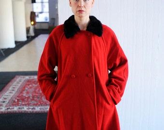 Vintage Red Wool Faux Fur Collar Winter Swing Pea Coat