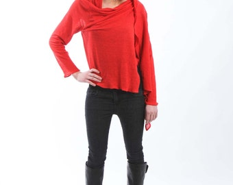 Red Semi-Sheer Wrap Top with Loose Front Opening - Made from Viscose&Linen Jersey Fabric