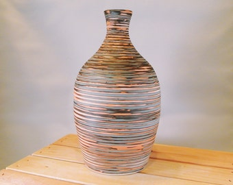 Swirled, Multi-Colored Bottle Vase