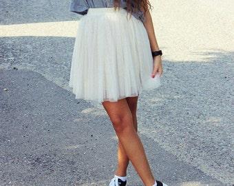 Mini  tulle skirt, Beige  short tulle skirt, tutu skirt,tulle tutu.