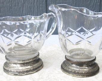 Crystal and Silver Plated Vintage Elegant Cream and Sugar Set/Tea or Coffee Serving Set/Wedding Creamer and Sugar Bowl
