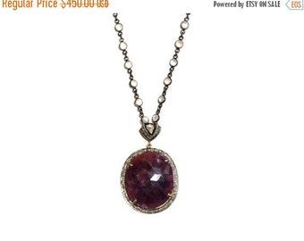 SALE Rose Cut Diamond Oxblood Sapphire & Moonstone Long Necklace