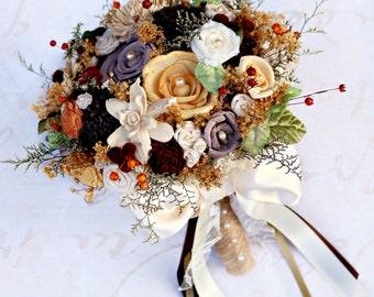 Autumn Wedding Bouquet // Fall Colors, Fall Bridal Bouquet, Dried Flowers, Sola Wood, Wedding Flower Bouquet, Bride Bouquet, Brown, Orange