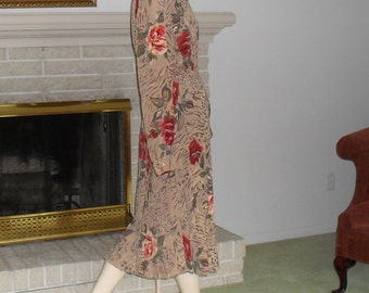 Skirt Blouse Set Plus Size Blouse and Skirt Size 18 20 Vintage Office Church Clothing Tan with Orange Roses