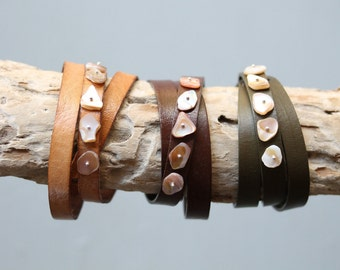 Leather Wrap Bracelet w/ Mother of Pearl & Sterling Silver Accents