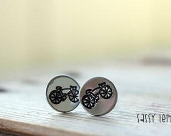 Dainty Bike Earrings / Bicycle Hand Stamp Surgical Steel Post Earrings
