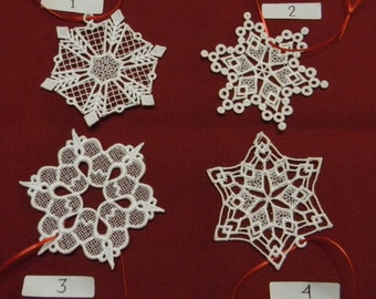 Lace Snowflake Ornaments (4), SET F, White, machine embroidered