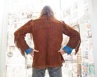 Suede Leather Fringe Jacket Size Small