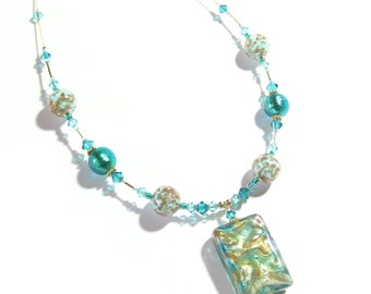Murano Glass Aqua Gold Swirl Rectangle Pendant Necklace, Glass Crystal Jewelry, Venetian Glass Jewelry, Italian Jewelry, Custom Jewelry