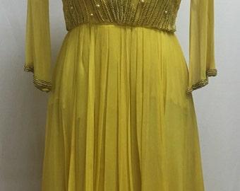 Designer Helen Rose 1950s Beaded Silk Chiffon Yellow Gown 50s