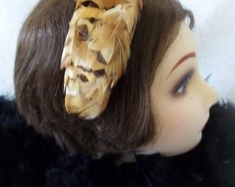 Vintage '60s Pheasant Feather Headband Beige Velvet Bow Peach Satin Hair Accessory Fascinator