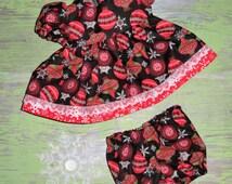 "Handmade 12 - 14 Inch Baby Doll Clothes ~ ""Celebrate"" Christmas Ornament / Snowflake Print Dress & Panties Set"