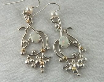 Precious Opal Earrings Mixed Metal Earrings Artisan Jewelry Handmade Statement Jewelry Mixed Metal Jewelry Luxury Jewelry