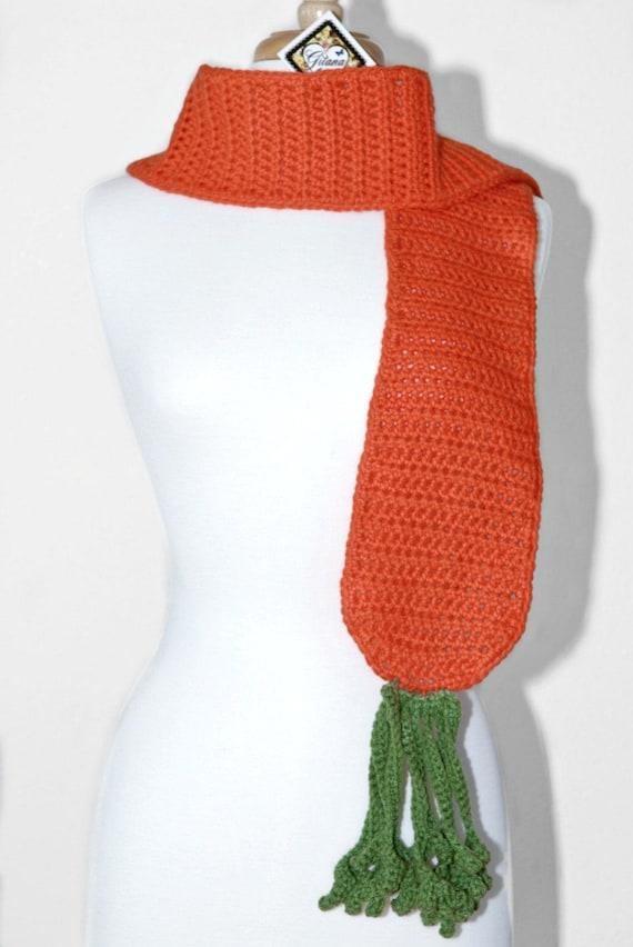 Carrot Crochet Scarf-Food Scarf-Crochet Scarf Kawaii-Unique Scarf-Women Scarf-Orange-Winter Scarf-Christmas Gift-Geek-Veggie Scarf