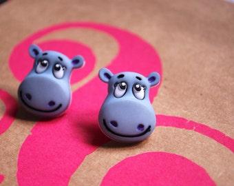 Hippo Earrings -- Hippo Studs, Hippo Jewelry