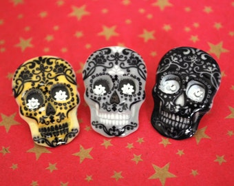 Day of the Dead Earrings -- Skull Earrings, Skull Studs, Day of the Dead, Halloween Studs
