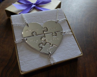 Five Piece Heart Pendant Necklaces with Names