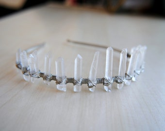 Clear & Silver Crystal Crown - Natural Quartz - Crystal Tiara - Quartz Crown - Bohemian Princess - Handmade - Wire Wrapped - Boho Chic