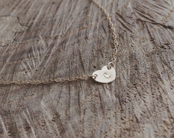 Personalized Gift - Sideways Heart Initial Necklace -  Monogram Necklace - Initial Necklace/ Sideways Necklace/ Heart Necklace/ Gift for Her
