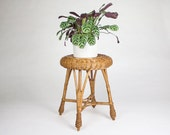 Boho Wicker and Rattan Stool / Boho Stool / Wicker Plant Stand / Rattan Footstool