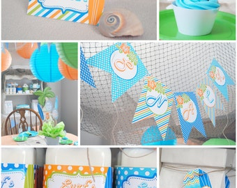 "Personalized Diy Boys ""Surfing Summer"" Birthday Digital Printable Party Package"