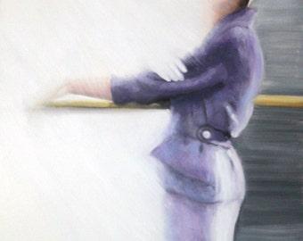Original Oil Painting: Vintage Fifties Fashion Model Purple Suit