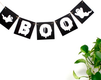 Halloween banner, Boo banner, boo ghost halloween decoration, boo sign, black and white halloween letter garland, handmade