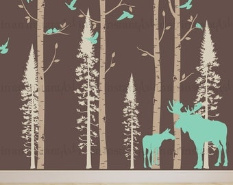 Tree Wall Decal | Trees with Moose and Birds | Custom Baby Nursery, Children's Room, Living Space Interior Design | Squeegee Application 138