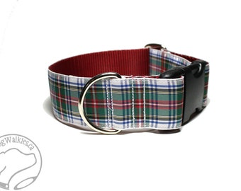 "Dress Stewart Tartan Dog Collar - 1.5"" (38mm) Wide - Red and White Plaid - Matingale or Side Release - Choice of style and size"