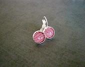 Red stripe Earrings : Nautical Glass Photo
