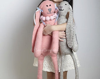 Handmade rabbit toy, stuffed pink or white bunny toy made of wool