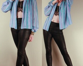 70's Sheer Light Striped Pastels Cover Up BLOUSE by Jersey Masters // Oversized