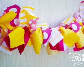 Pink Lemonade Fabric Bunting - FREE Shipping - Pink Lemonade Garland - Pink Lemonade Bunting - Pink Lemonade Banner - Lemonade Bunting