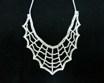 Diamond Spider Web Necklace, Diamond Necklace, Diamond Statement Necklace, Spider Web Necklace, Chunky Necklace, Elegance Necklace