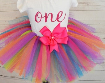First birthday outfit,FREE SHIPPING, birthday outfit, baby colorful tutu,  first birthday,one birthday outfit