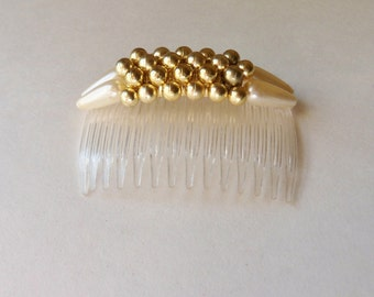 Gold Bead and Pearl Hair Comb, Ornate Hair Comb with Teardrop Pearls and Gold Beads