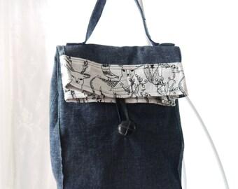 Denim Lunch Bag, Small Tote Bag,  Black Denim Purse, Fold Over Bag, Market Bag, Upcycled Bag Again