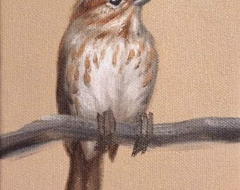 Original Oil Painting Little Sparrow